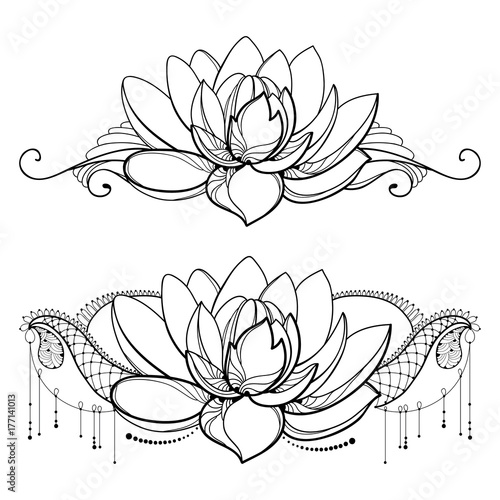 Vector drawing with outline lotus flower decorative lace and swirls vector drawing with outline lotus flower decorative lace and swirls in black isolated on white mightylinksfo
