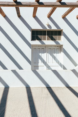 Shadow lines on a door of a house