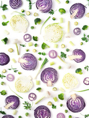 Fototapete - Red cabbage pattern. Food background. Cabbage in a cut on a white background. Food concept.Top view, flat lay. Wallpaper of vegetables.