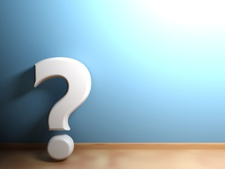 White question mark leaning at blue wall - 3D rendering