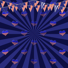 Template for American Holidays, 3D Illustration, Beautiful background in the colors Red, White and Blue.