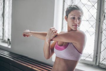 Woman stretching during exercise.