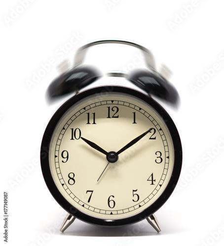 Alarm Clock Wake Up Time Retro Vintage Style Isolated On White