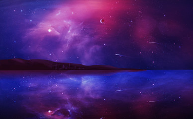 Poster Violet Sci-fi landscape digital painting with nebula, planet and lake in violet color. Elements furnished by NASA. 3D rendering