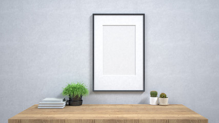 Frame template on the wall in room / 3D render image