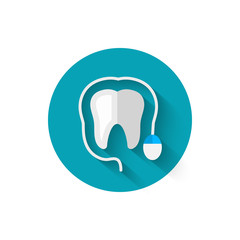 Tooth icon and computer mouse, illustrated in a flat design style of vector illustration. Modern icon of dentistry. Website and design for mobile applications and other your projects
