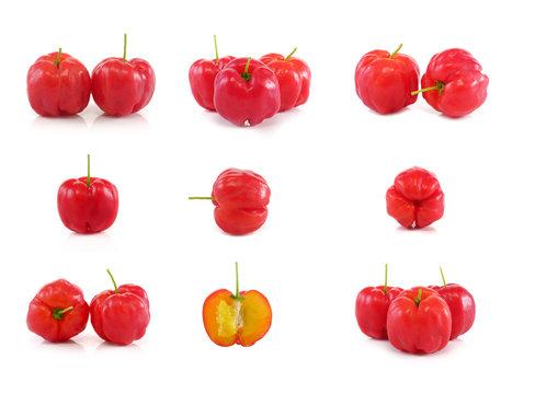 Acerola fruit set close up on background