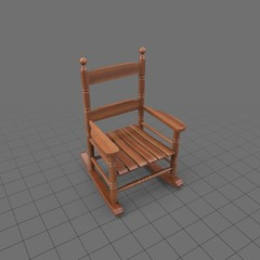 Wooden rocking chair with slats