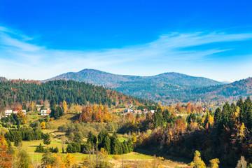 Beautiful countryside landscape of town of Lokve in Gorski kotar, Croatia, in autumn, panoramic view