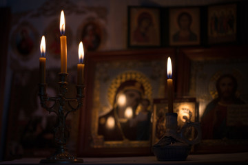 A candle against the background of orthodox