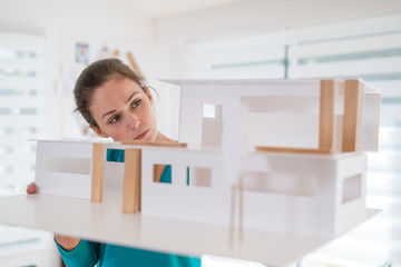Portrait of a woman architect working on a construction project