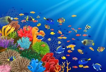 Fish swim in the underwater and coral. Vector illustration