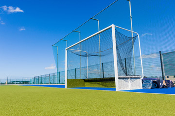 Hockey Goals Field Astro Turf Blue Sky