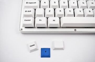 Keyboard stock images. White keyboard on white background. Keyboard detail. Computer keyboard