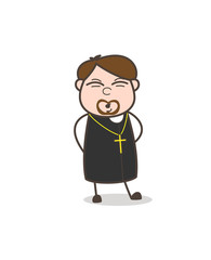 Funny Worshipper Caricature Face Vector