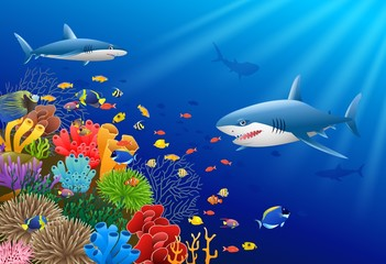 Cartoon shark with Coral Reef Underwater in Ocean Vector illustration