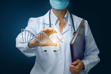 Doctor shows DNA in hand .