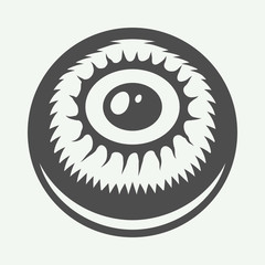 Vintage halloween eye in retro style. Monochrome Graphic Art. Vector Illustration.