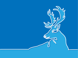 Continuous line drawing. Christmas reindeer on blue background. Total editable, choose thickness and place of line