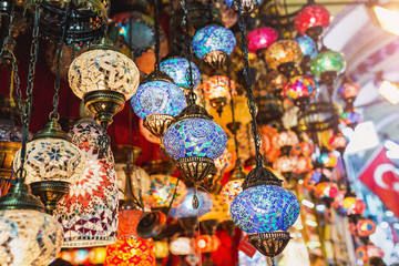 Colourful mosaic vintage turkish lamps as souvenir in local market