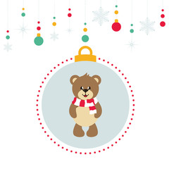 cartoon christmas balls with cute bear