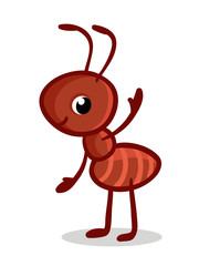 Vector illustration with a cute ant. Insect in the childrens cartoon style.