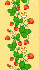 Seamless vector pattern with a bunch of strawberries on a yellow background. Illustration with strawberries.