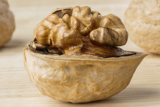 Monochromatic image of a walnut on a half shell