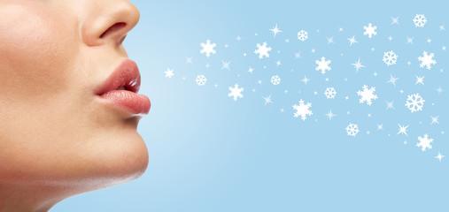 Fotobehang - close up of young woman lips