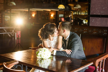 Portrait of a young couple. Wedding photo of loving couple