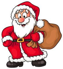 Niedlicher Weihnachtsmann mit Sack voller Geschenke - Vektor-Illustration