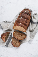 Rye homemade bread on napkin