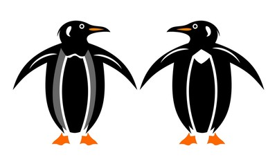 image of two silhouette penguins