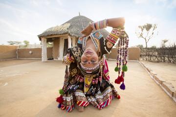 Traditional Dancers performing in desert. Rajasthan. India.