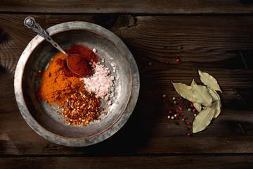 Red pepper, turmeric, Himalayan salt and ground chili