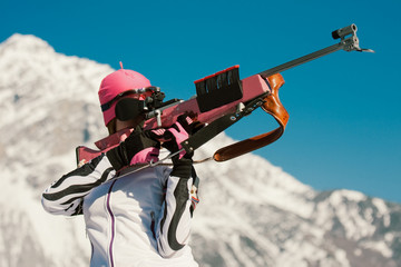 Young Biathlon Competitor at Target Shooting