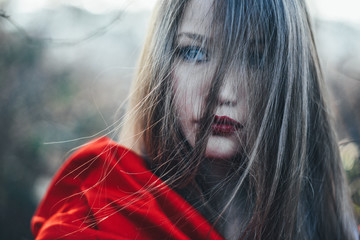 young girl with red hood