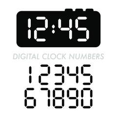 A set of classic digital clock numbers.