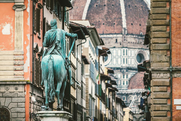 Bronze Equestrian Statue in Florence, Italy
