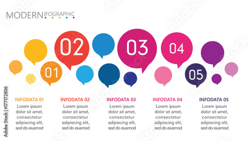 abstract infographics number options template with speech bubble