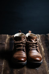 Men's brown leather chukka boots.