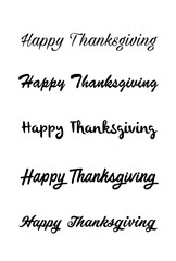 Thanksgiving typography hand drawn. Celebration Happy Thanksgiving Day. Vector vintage style text calligraphy. Usable for prints, flyers, banners, greeting cards, posters, etc. Hand-lettering set.