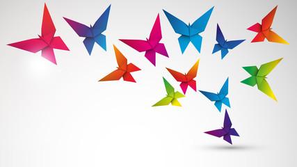 kolorowe motyle origami wektor