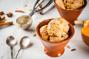 Ideas for autumn desserts, recipes from pumpkins. Pumpkin pie ice cream gelato in ceramic bowls, with maple syrup, pumpkin seeds, cinnamon and anise stars, on a white marble table. Copy space