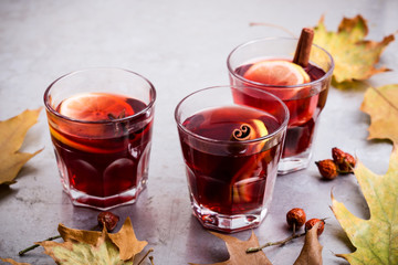 Hot red tea with lemon