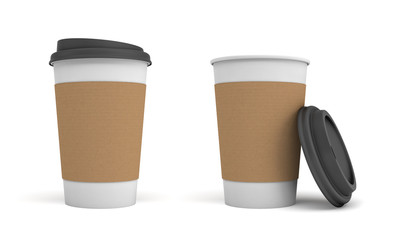 3d rendering of two white paper coffee cups with brown stripes and black lids, one closed and one open.