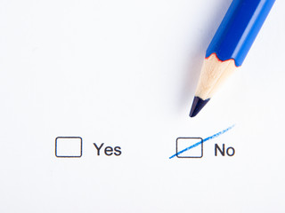 NO checkbox crossed out with blue pencil