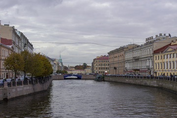 River Moika and view of the Blue Bridge, St. Petersburg, Russia