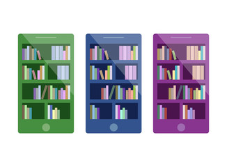 Isometric 3D vector illustration electronic library in the phone