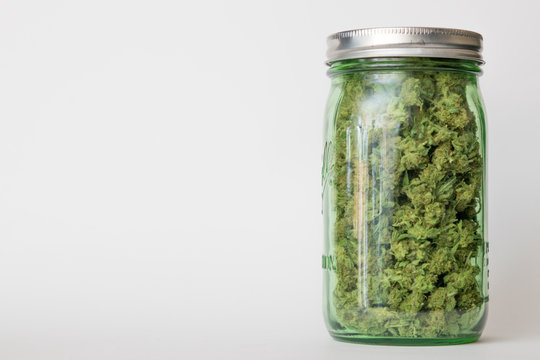 Jar of medical marijuana; off center